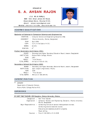 Sample Resume For Abroad by Sample Resume For Assistant Professor In Computer Science Free