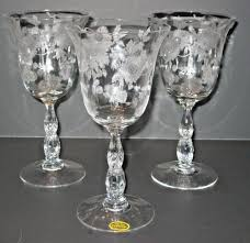 Crystal Gifts Stemware Vases Rare Colors European Cambridge Blossom Time Stem Etched Crystal Water Goblet 3675