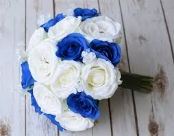 white and blue roses silk ivory white and blue roses and fillers bouquet lilies of the