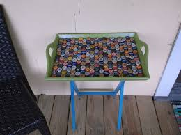 upcycled serving table with beer caps for the front porch hometalk