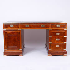 antique campaign style mahogany leather top partners desk