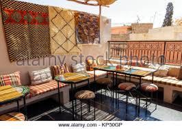 marrakech restaurant with balcony stock photo royalty free image