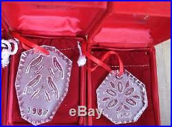 14 pcs waterford 12 days of ornaments withboxes 1982