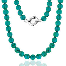 long turquoise necklace images 925 silver 10mm gemstone turquoise bead long necklace 36in jpg