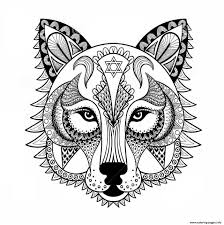 wolf anti stress coloring pages printable