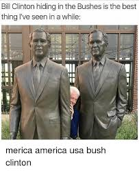 Bush Memes - bill clinton hiding in the bushes is the best thing l ve seen in a
