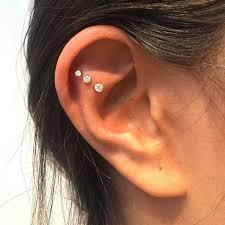 diamond helix stud 3mm invisible set diamond threaded stud helix helix jewelry