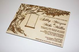wooden wedding invitations tree with swing wedding invitations wood wedding invitation oak