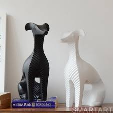 handmade creative abstract whippet figurine nordic crafts white