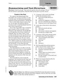 summarizing and text structure 4th 6th grade worksheet lesson