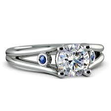 sapphire accent engagement rings sapphire accent gem engagement ring in white gold