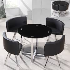 Black Glass Dining Room Sets Coco Round Black Glass Dining Table With 4 Chairs Kitchen Corner