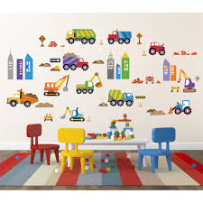 city construction peel u0026 stick kids room wall decal for boys