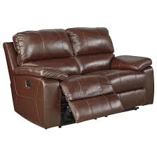 leather match power reclining loveseat w adjustable headrest by