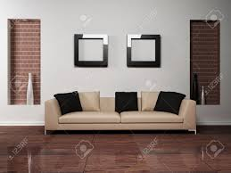 modern interior design of living room with a nice sofa stock photo