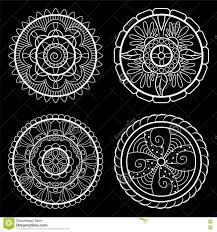 imagenes blancas en fondo negro mandalas blancas en fondo negro sistema de mandalas stock de