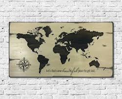 Personalized World Map by World Map Wood Sign Family Name Sign Carved World Map Map Decor