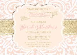 blush pink and gold glitter damask wedding shower invitation
