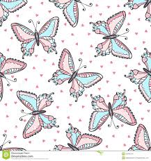 butterflies seamless pattern in doodle style hand drawn butterfly
