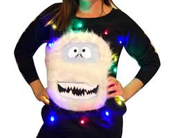 ugly christmas sweater lights up sweatshirt abominable