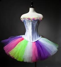 custom size neon pink green purple and white burlesque corset prom