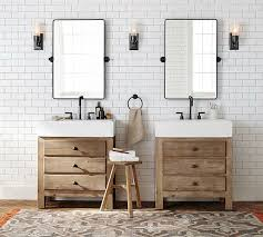 pottery barn bathroom ideas reclaimed wood single sink console wax pine finish