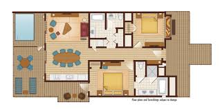 2 Bed Bungalow Floor Plans Disney U0027s Polynesian Villas And Bungalows Dvc Rental Store