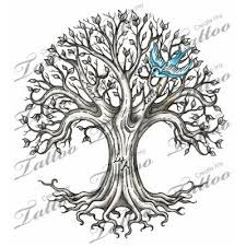 blue ink flying bird and ash tree design