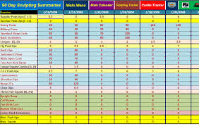 Diet Tracker Spreadsheet Excel Spreadsheet Workout Manager Tool For Use With Power 90
