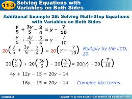 how to solve equations with two variables on each side tessshlo