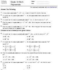 worksheets polynomials grade 9 9 grade worksheets polynomials