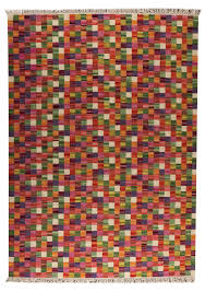 Designer Wool Area Rugs Small Box Collection Hand Woven Wool Area Rug In Multi Design By