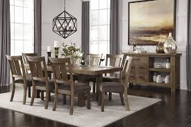gray brown rectangular extendable dining room set