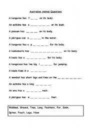 english teaching worksheets australian animals