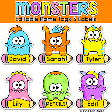 halloween monster names monsters theme name tags and labels classroom decor door