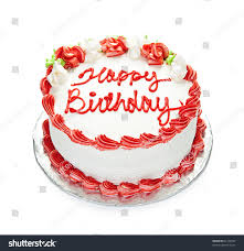 birthday cake white red icing isolated stock photo 63123037