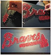 diy string art wall decor baseball art nail and string art