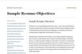 Good Resume Objectives 9 Sles 18 Writing Objective On - exles of objectives for resumes primary vision sles