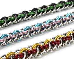 braided bracelet with chain images Custom braided chainmail bracelet double color metal jpg