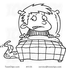 Drawing Of A Bed Cartoon Black And White Line Drawing Of A Scared Boy Seeing A