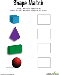 matching shapes 3d to 2d worksheet education com