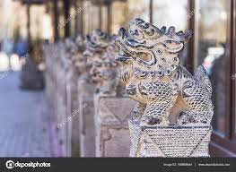 japanese guard dog statues japanese animal sculptures statue of lion dog stock photo