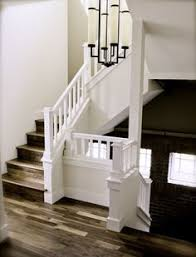 Dark Wood Banister Black Hand Rail Stained Treads Painted Risers Fire Road House