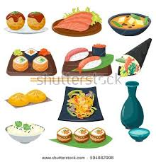 illustration cuisine sushi japanese cuisine traditional food flat stock vector
