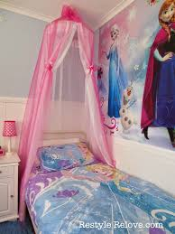 restyle relove a new bed and diy bed canopy for my frozen frozen room
