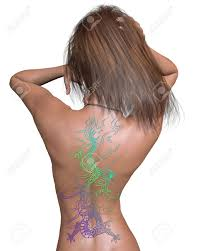 3d dragon tatoo woman u0027s back with brightly coloured chinese dragon tattoo for