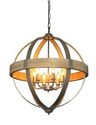 Iron And Wood Chandelier Shaped Metal And Wood Chandelier W Pendant Light In