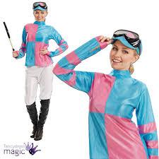 horse jockey halloween costume female jockey womens pink blue sports horse rider fancy dress
