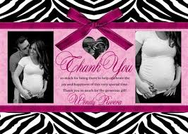 zebra baby shower hot pink zebra baby shower thank you cards couples photo thank