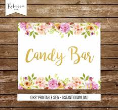 Baby Shower Candy Buffet Sign by Candy Bar Sign Printable Candy Buffet Sign Floral Sign Gold